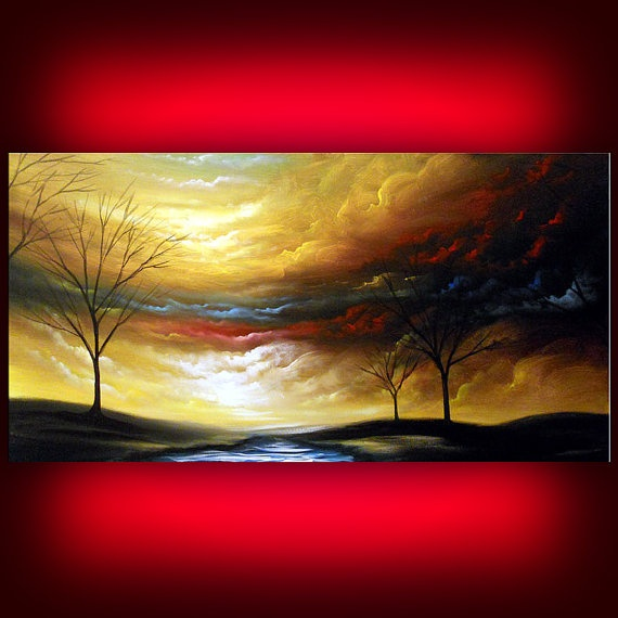 art painting original abstract surreal acrylic landscape contemporary art yellow rainbow cloud landscape silhouette tree painting 24 x 48