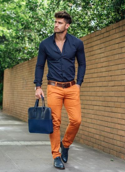 Try orange toned chinos to add a zesty twist to your outfit!