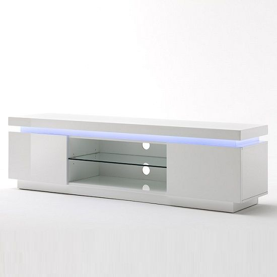 Odessa 2 Door Low board TV Stand in High Gloss White With LED TV Stand, Modern Stylish design TV stand finished in a beautiful high gloss white with integrated led lights, Four different colours an...