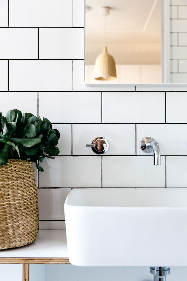 Subway tile with black or dark gray grout for master bathroom project www.cm-studio.com.au