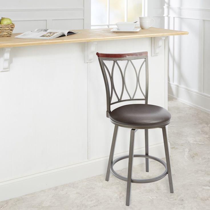 Brown Steel and Wood 24-inch Swivel Bar Stool (