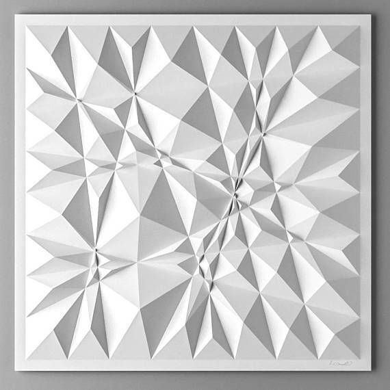 I switched the tiling method for a more free approach - a kind of Zig and Zag doodling based on a square grid. I then took the drawing and used it as a foundation for this paper relief. It´s less calculated, less geometric and more intuitive.
