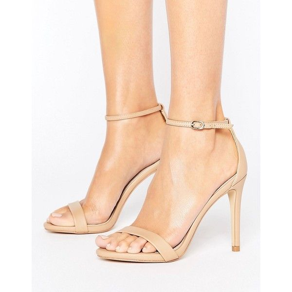 Steve Madden Stecy Nude Barely There Sandals ($38) ❤ liked on Polyvore featuring shoes, sandals, beige, strap sandals, strappy sandals, ankle strap wedge sandals, nude sandals and strappy high heel sandals