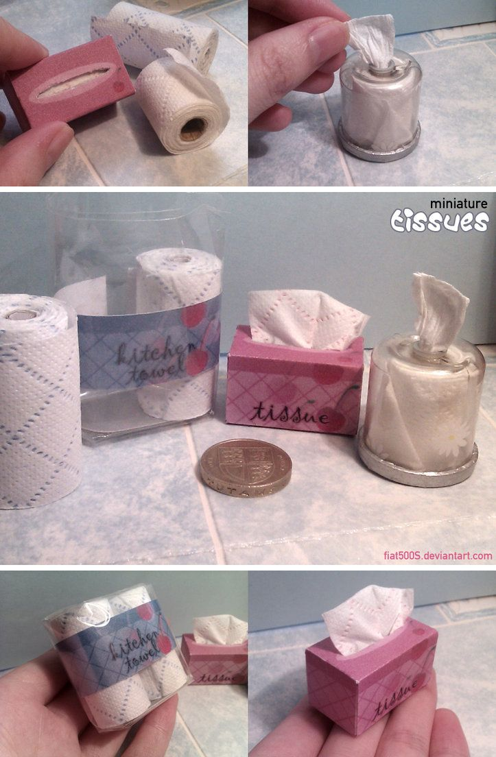 Playscale miniatures, made for my dollhouse. These were fun to make. The mini tissues are real tissue sheets, which I thought the texture was ideal as a miniature version. I made the holder for the...