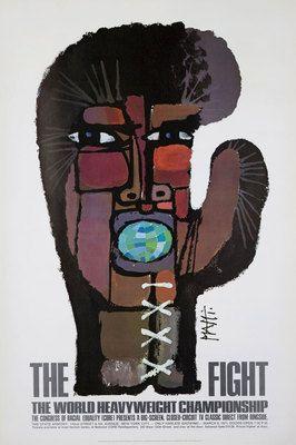 Original Vintage Poster Muhammed Ali Joe Frazier Boxing Sport Fight Piatti 1971
