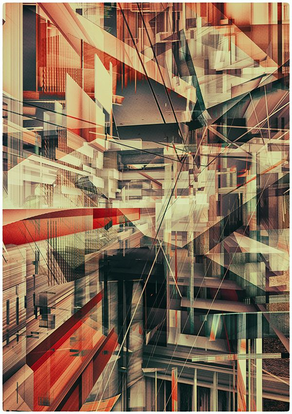 CONSTRUCTIVISM—controlled or out of controlled chaos... Not sure which it is or what it is de/constructing but the bold angles and colors make this composition deep and engaging.