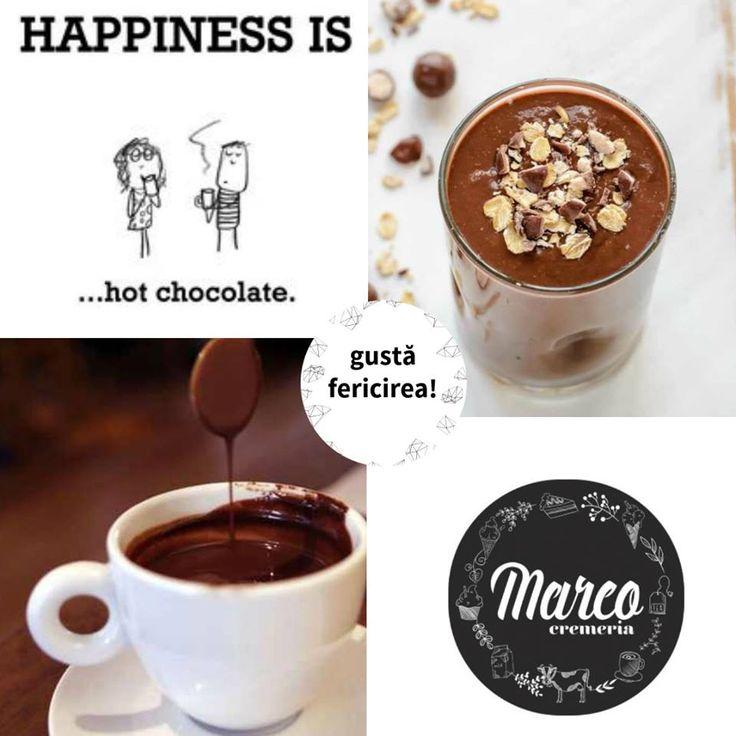 Pe vremea asta ai nevoie de cât mai multe momente călduroase și dulci. Cine vine la o ciocolată caldă? Cu lapte, gust de portocale și scorțișoară sau cu gust de alune? #hotchocolate #pitesti #cremeriamarco