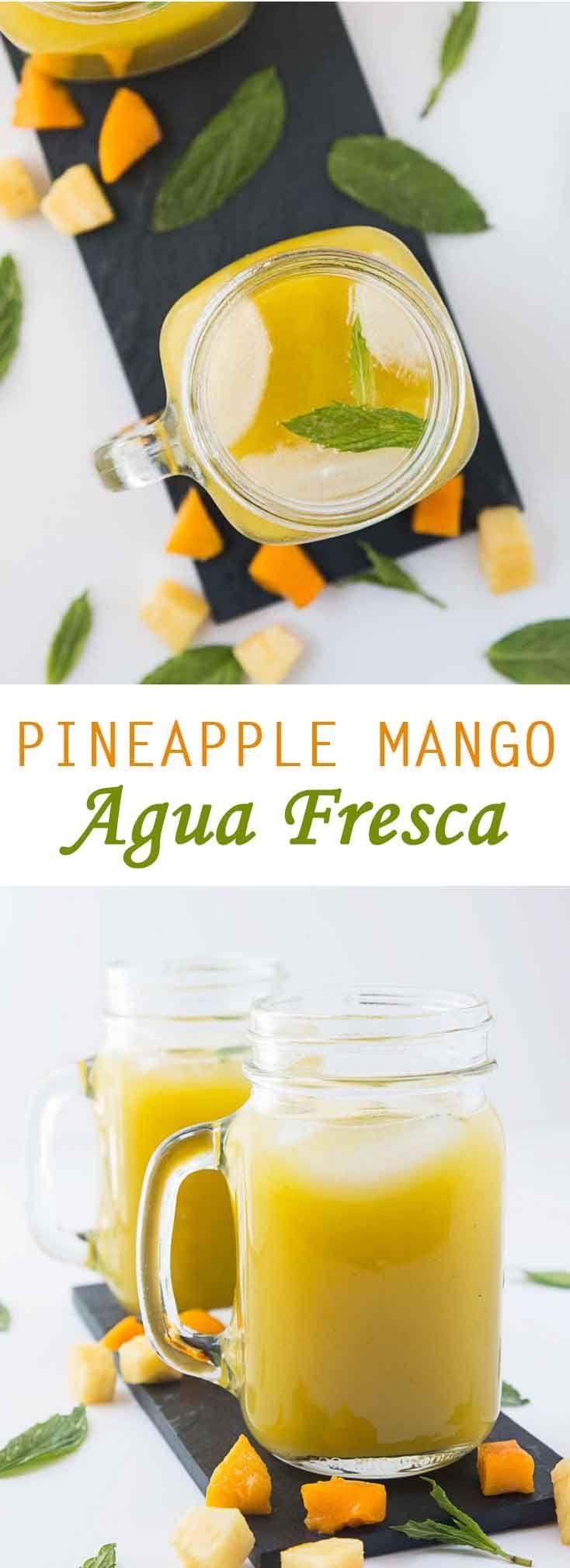 Pineapple Mango Agua Fresca Recipe #vegan #glutenfree #healthy | Vegetarian Gastronomy | www.VegetarianGastronomy.com