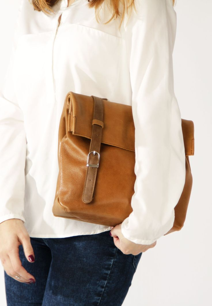 Leather Cross Body Bag by A-Rada / Brown Leather Bag / Leather Briefcase Women / Кожаная сумка через плечо / Кожаный женский портфель