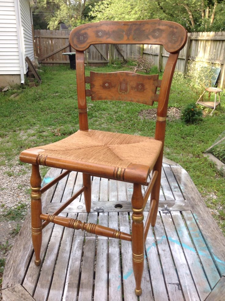 Another charming artificial rush seat on this rustic Hitchcock side chair. Natural fiber seat compliments of Overland Park Cane and Seat.