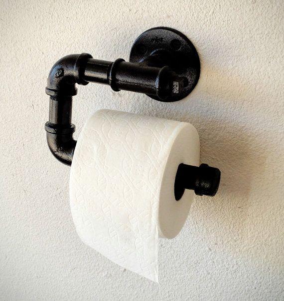 Black Iron Pipe Toilet Paper Roll Holder C   Vintage
