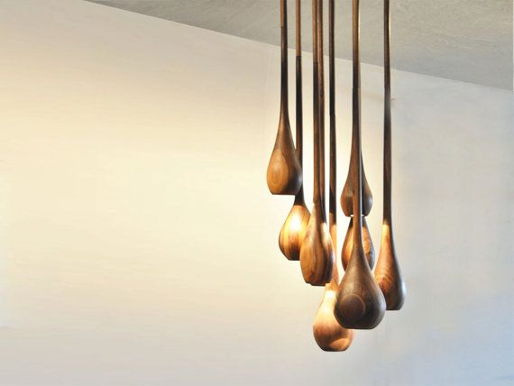 Custom Made Solid Wood Pendant Lighting by FoxfireFurniture