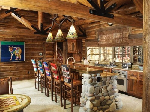 Drewniana kuchnia z jadalnia: Dining Rooms, Dreams Houses, Cabins Kitchens, Rustic Kitchens, Kitchens Ideas, Cabins Ideas, Logs Cabins, Bar Stools, Rustic Cabins