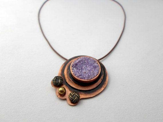 copper pendant necklace with lilac/purple sand by AbyCraft on Etsy