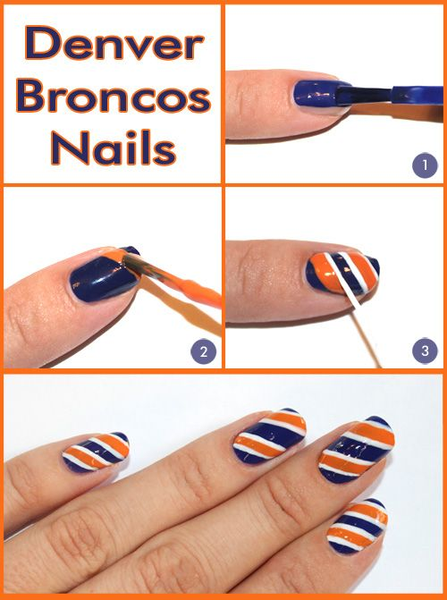Denver Broncos Nail Tutorial: Beauty Makeup, Broncos Nails Art Denver, Denver Broncos Nails Art, Nails Art Idea, Super Bowls, Auburn Nails, Beauty Nails, Nails Idea, Nails Tutorials
