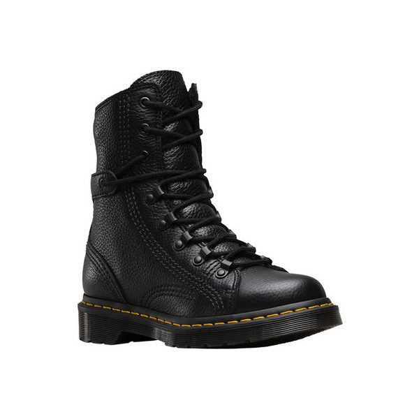 Women's Dr. Martens Coraline LTT Combat Boot ($150) ❤ liked on Polyvore featuring shoes, boots, ankle booties, casual, work boots, combat booties, leather ankle boots, black lace up booties, black work boots and black leather booties