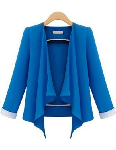 Blue Long Sleeve Casual Crop Blazer pictures