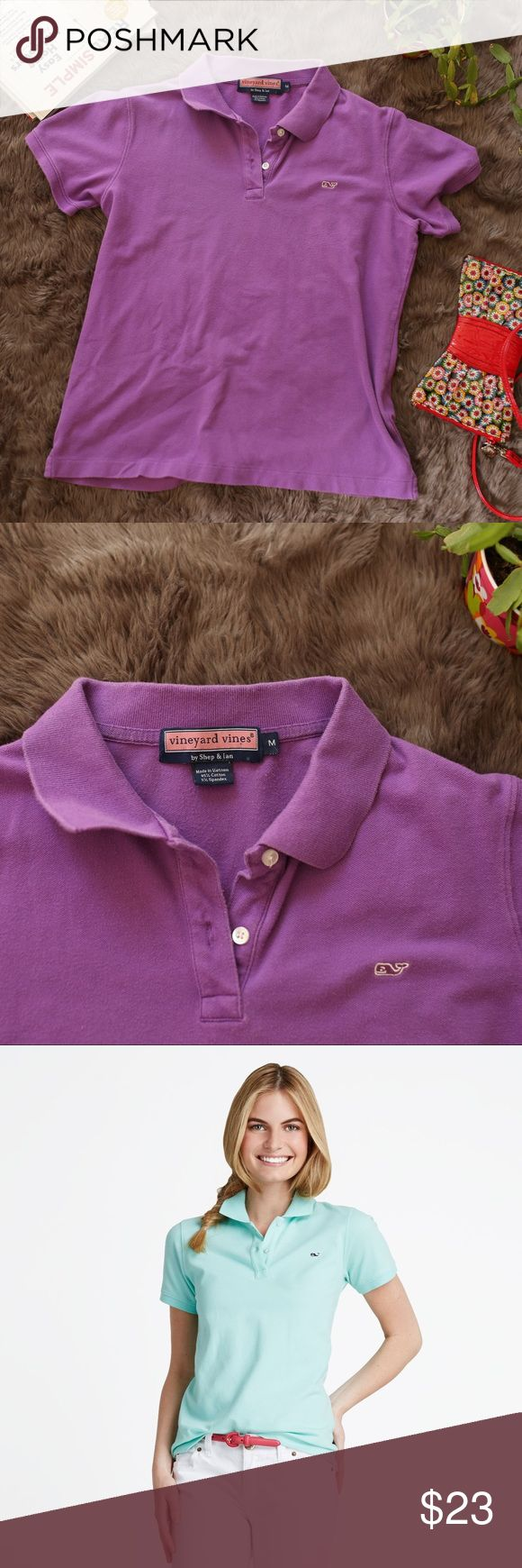 Vineyard Vines Preppy Polo in Purple Classic design and so preppy! This is a simple vineyard vines polo style shirt and a women's medium. With the iconic whale on the left breast! The colors are vibrant and the shirt is gently used in excellent condition! Timeless shirt and an awesome brand Vineyard Vines Tops