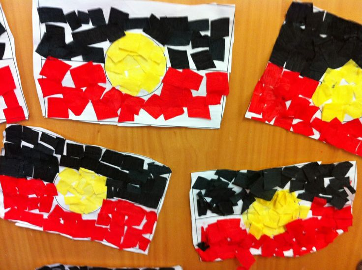 aboriginal flags collage - give kids different colours to create their own flag or copy the aboriginal flag