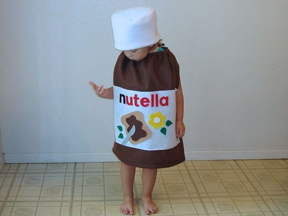 Nutella Costume...  Fit is very roomy and forgiving- will even fit over a coat if its cold outside! (Adult sizes are based on unisex t-shirt sizes.)   Click here to ask me a question: http://www.etsy.com/conversations/new?with=notthekitchensink&ref=pr_contact  Its not a good idea to