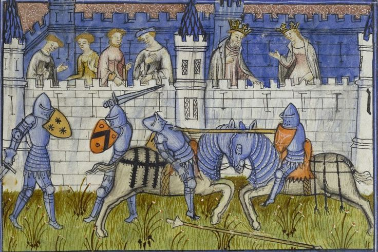 """Note the chamfron and crinet surrounding the neck of the horse on the illumination. Henri de Ferrieres, """"The Book of the King and the Queen Modus Racio""""."""