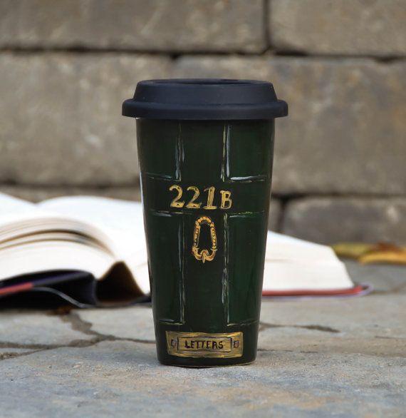 Sherlock Holmes Ceramic Travel Mug - Custom Personalized Mug - Mystery lover Eco Cup Lid - Stonehenge Art - literary gift