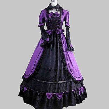 Met lange mouwen Vloer Lengte Paars Satijn Katoen Aristocrat Lolita Dress – EUR € 68.76