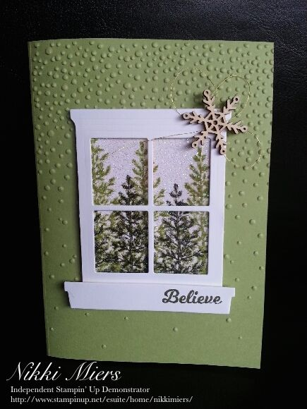 Stampin Up holiday catalogue 2015.......Softly Falling embossing folder, Hearth and Home thinlit, Lovely as a tree stamp set, Snowflake elements. Iridescent Ice embossing powder covers the trees.
