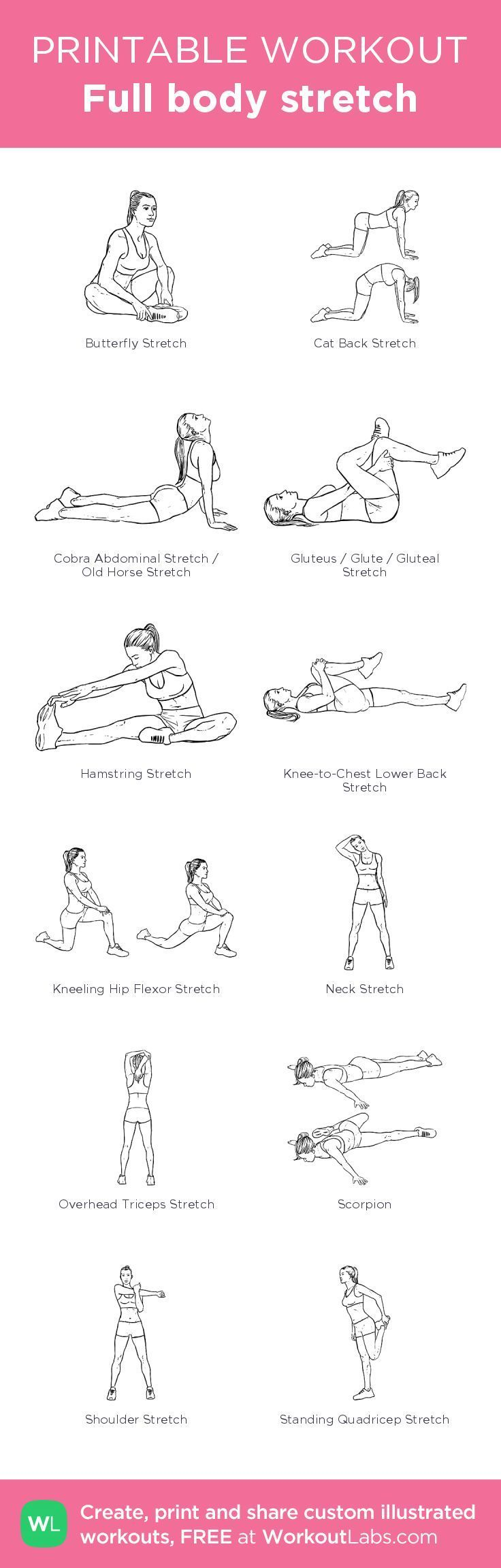 Full body stretch created at WorkoutLabs.com • Click through on mobile or customize and save as PDF at workoutlabs.com/… #mobileworkout #customworkout