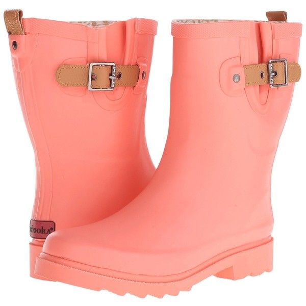 Chooka Top Solid Mid Rain Boot (Papaya) Women's Rain Boots ($46) ❤ liked on Polyvore featuring shoes, boots, ankle boots, orange, platform boots, leather ankle boots, wellies boots, rain boots and strappy ankle boots