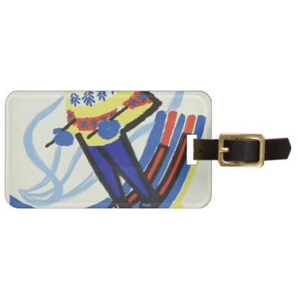Skiing In France Vintage Luggage Tag - travel luggage tags personalize customize your name diy