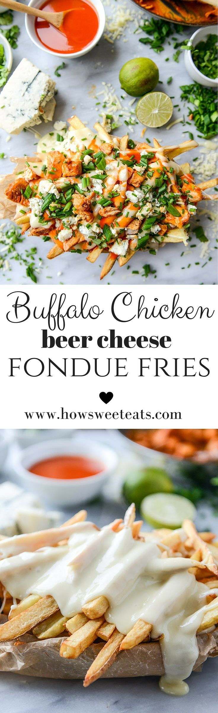 buffalo chicken beer cheese fondue fries I http://howsweeteats.com