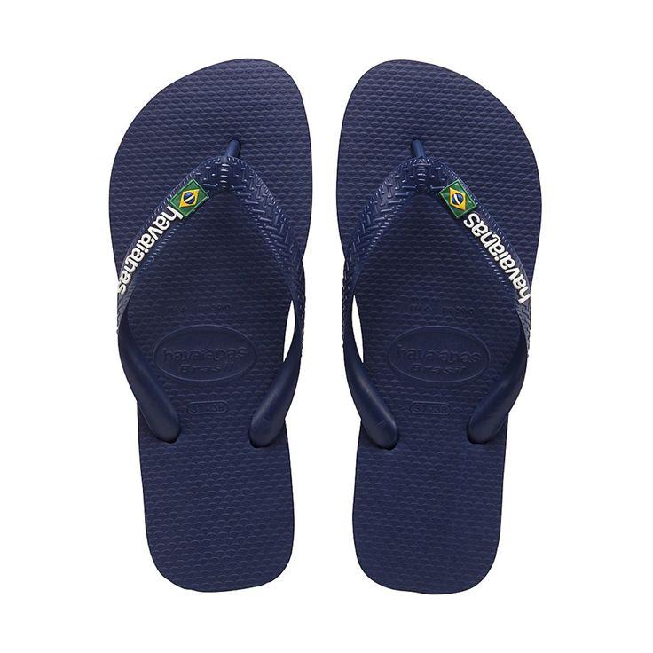 Havaianas Brasil Logo Navy Blue Rubber Flip Flops >>> For more information,  visit image link.