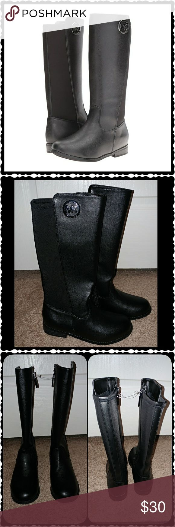 🚨FINAL PRICE⬇ 🌸Michael Korls Girls Riding Boots: NWOT. (Still attached by plastic tag piece, shown in photo).  Black Michael Kors Girls Boots. Perfect condition. Never Worn.   Final price drop is firm. Bundle & Save! ** Next Day Shipping ** MICHAEL Michael Kors Shoes Boots