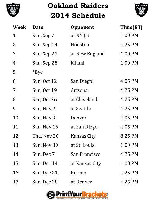 Printable Oakland Raiders Schedule - 2014 Football Season