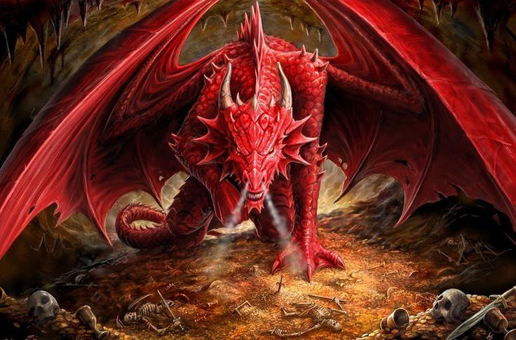 Fantasia Dragão  Esqueleto Treasure Red Papel de Parede