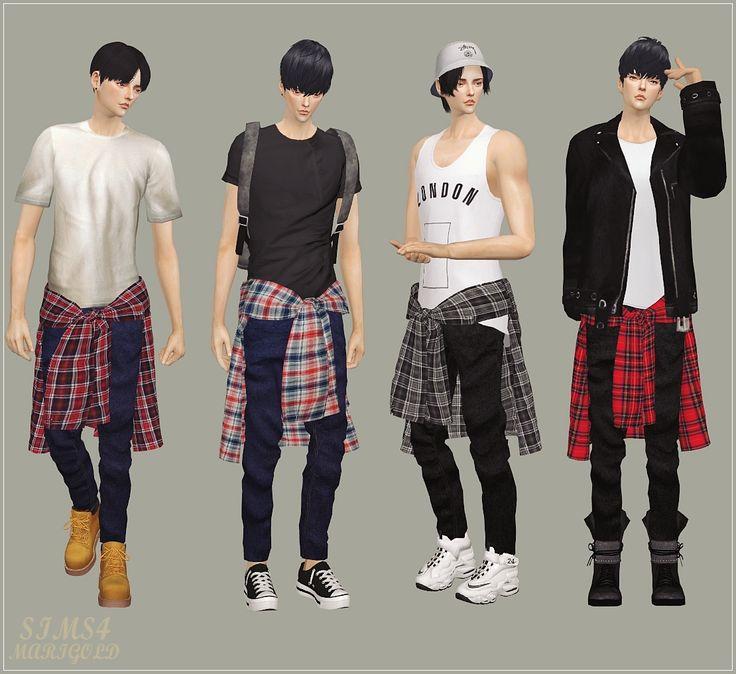 SIMS4 marigold: Male_Tied Shirt Jeans_묶은 셔츠 청바지_남자 의상