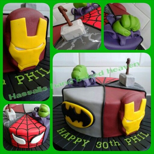 avengerd themed super hero birthday cake. spidr man, batman, iron man, thor and the hulk
