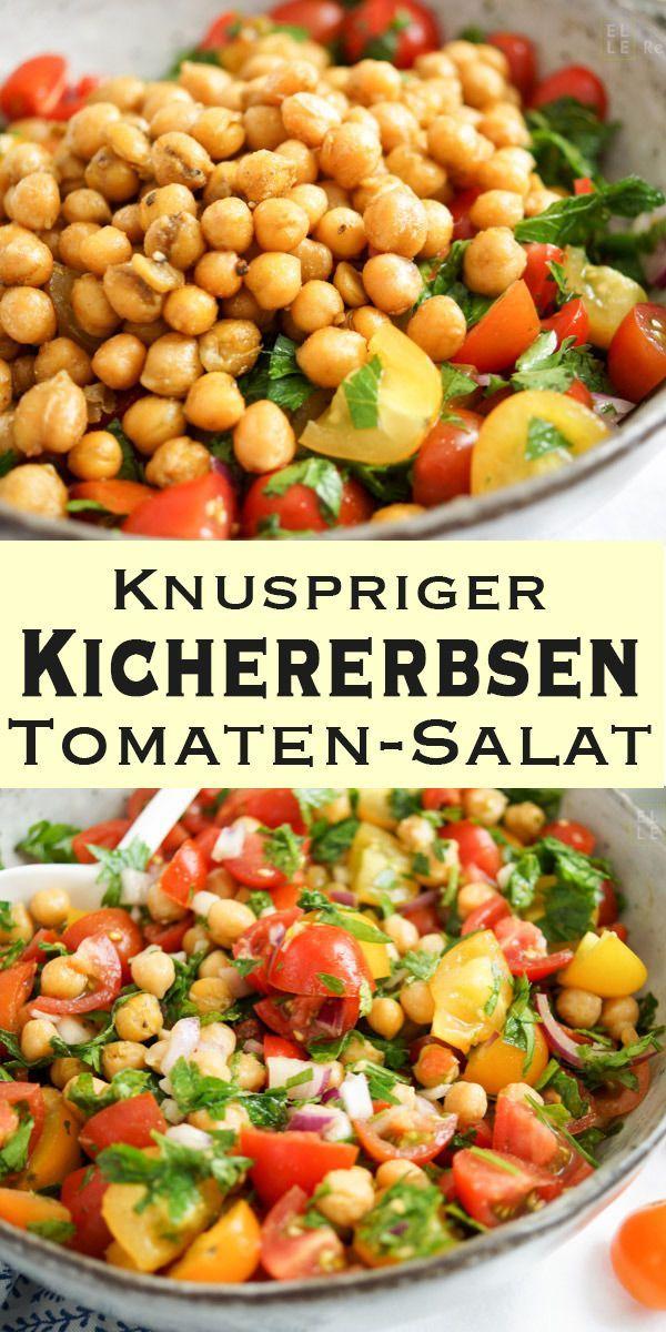 Ein phantastisch leckerer und schnell gemachter Kichererbsen-Tomaten-Salat mit v…