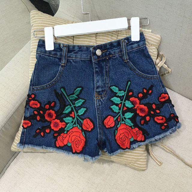 Hot Moda Denim Shorts Mulheres rosas Bordados Short Jeans 2016 Calções de Verão Ocasional Do Vintage calça jeans de cintura alta curta JN856