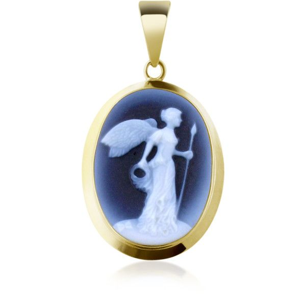 Del Gatto Cameo Winged Victory Agate Stone Cameo Pendant (15,765 INR) ❤ liked on Polyvore featuring jewelry, pendants, necklaces, cameos, accessories, blue, charm pendant, blue agate jewelry, 18k pendant and blue pendant