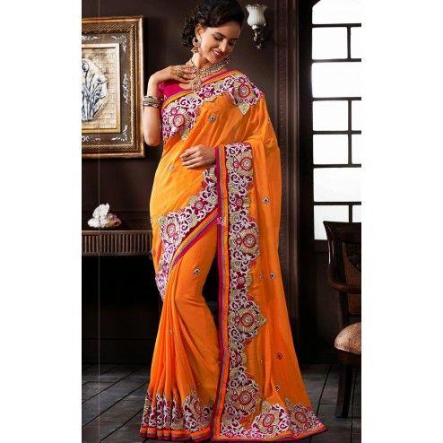 Orange Georgette #Saree With Blouse