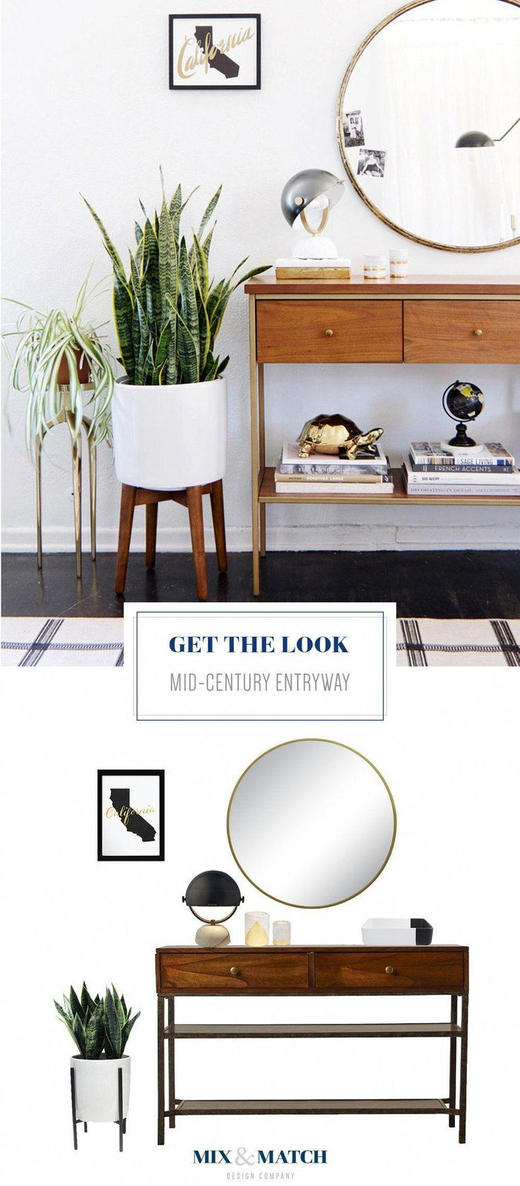 Get The Look Of This Mid Century Inspired Entryway Pair A Console