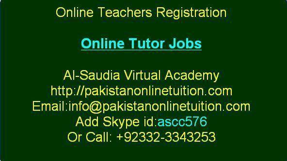 Online Tutor Registration Pakistan Online Tutoring Online