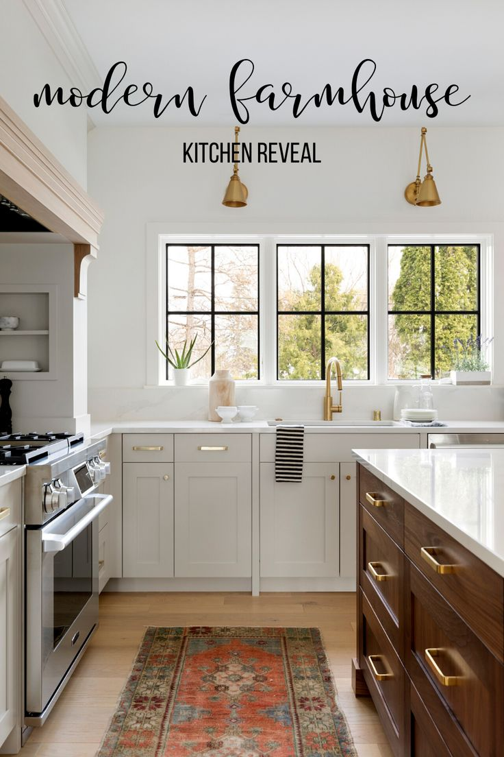 modern farmhouse kitchen reveal gray cabinets with walnut kitchen island gold fixtures in on farmhouse kitchen gray id=39799