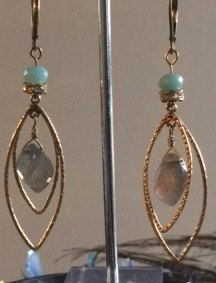 Gold Vermeil Labradorite & Ammazonite Earrings by SoulReflectionDesign on Etsy