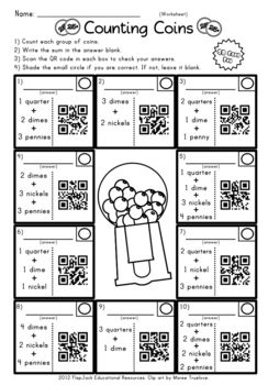 Be cool in school with QR codes! Have your students excited about counting coins and solving money word problems! Based on the 2nd grade CCSS 2.MD.8, this title contains 12 self-checking center/task QR code cards, one recording sheet, and one 10-problem worksheet.