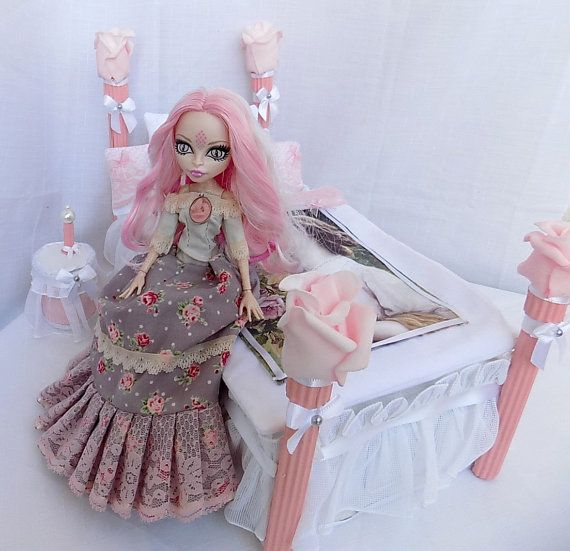 Pink princess vintage bedroom Doll furniture pro by DollsThell