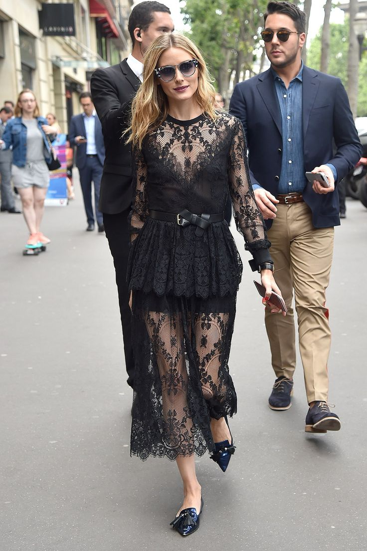 The couture fashion week best-dressed list: Olivia Palermo in a black lace dress and patent pointed flats
