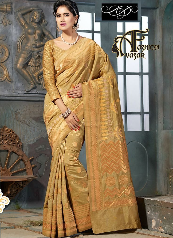 Art Silk Sarees Online Shopping Cream Color.Add a adolescent burst of colour for a wardrobe with this Dark Cream Art Silk Saree. The ethnic Brocade Patch